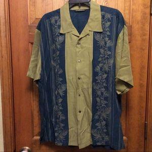 Tommy Bahama XL blue green Cuban style men's shirt